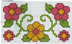 Flores Cross Stitch Boarders, 123 Cross Stitch, Cross Stitch Beginner, Cross Stitch Heart, Cross Stitch Cards, Simple Cross Stitch, Cross Stitch Flowers, Cross Stitch Designs, Cross Stitching