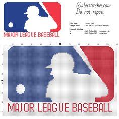 Major League Baseball logo free cross stitch pattern download 112 x 69 stitches 2 DMC threads