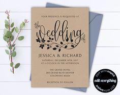 Rustic Wedding Invitation Template - Kraft Wedding Invitation - Instant Download Printable Invitation - Rustic Invitation Wedding Template by MintedMemories on Etsy