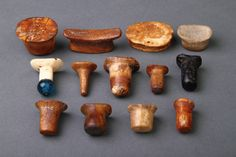 Finch & Co - Collection of Bering Sea Eskimo Inuit Male and Female Labrets 'Tuutat'