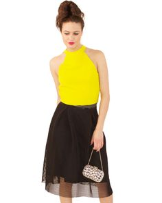"""This modern flare skirt is a bit girly yet a bit edgy, with a flare shape but cool mesh overlay. An elastic wasitband and zip side keeps everything comfortable. Pair with a sharp top in a bright color to play off the contemporary vibe!By Renee100% PolyesterHand WashModel Info:Height: 5'9"""" 