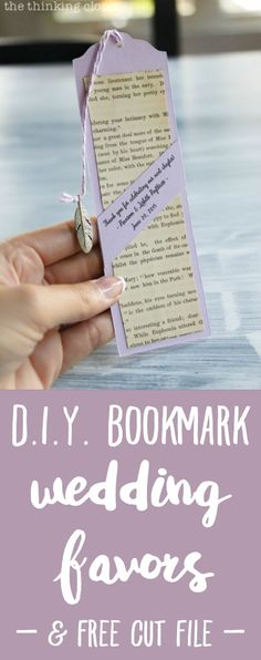 Bookmark Wedding Favors – the thinking closet D. Bookmark Wedding Favors – the thinking closet,Wedding Reception Table Ideas DIY Bookmark Wedding Favors – – perfect for the book-lovin' bride and groom! Homemade Wedding Favors, Creative Wedding Favors, Inexpensive Wedding Favors, Wedding Shower Favors, Rustic Wedding Favors, Beach Wedding Favors, Wedding Favors For Guests, Wedding Gifts, Trendy Wedding