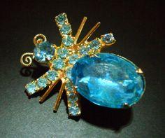 Blue Bug Pin Brooch Vintage Glass Gold Tone by RenaissanceFair