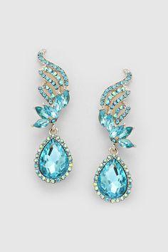 Crystal Tiffany Earrings in Water Blue