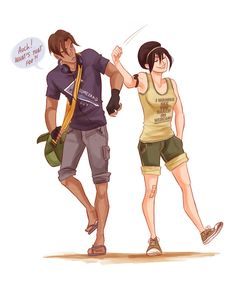 Sokka and Toph, I love her shirt... not that she can read it or anything. | By Viria13 on deviantart