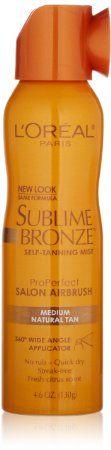 Amazon.com: L'Oreal Paris Sublime Bronze ProPerfect Salon Airbrush Self-Tanning Mist, Medium Natural Tan, 4.6 Ounce: Beauty