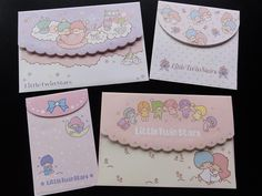 4 Little Twin Stars envelopes. Size of the envelopes: 3.75 x 5.5 inch, 3.75 x 3.75 inch, 2.5 x 4 inch. Made in Japan. Sanrio 2014. So cute, kawaii and fun! Awesome for collecting and gift. Perfect for