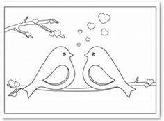 ideas embroidery patterns tree funny coloring pages Valentine Coloring Pages, Bird Coloring Pages, Adult Coloring Pages, Coloring Books, Simple Coloring Pages, Wedding Coloring Pages, Bird Patterns, Hand Embroidery Patterns, Applique Patterns