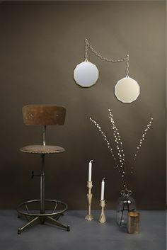 Duo Mirrors, two tone gold and silver on a large brass chain. mirror cluster gallery style