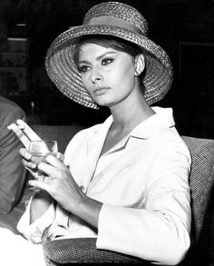 Sophia Loren. Nice to see a photo of a beautiful woman who looks like she is thinking. via #thedailystyle