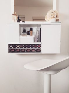 Hey, I found this really awesome Etsy listing at https://www.etsy.com/listing/265830611/wall-mounted-makeup-organizer-vanity