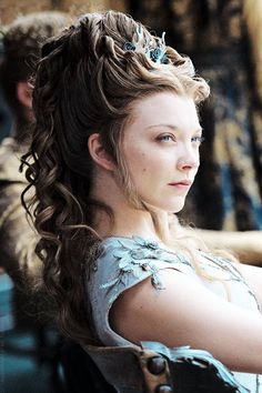 "The face of a woman who is thinking, ""My hair hurts. Is this damn feast over yet?"" - Margery Tyrell at Purple Wedding - Fangirl - Game of Thrones"