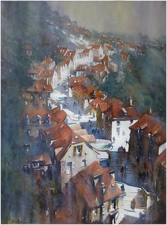 Steps of Rocamadour Thomas W Schaller - Watercolor 76x56 cm
