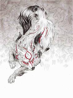 Pin by paden on okami Amazing Drawings, Amazing Art, Art Drawings, Awesome, Wolf, Fox Illustration, Amaterasu, Japanese Art, Japanese Sleeve