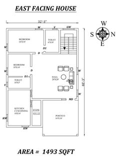 Autocad Drawing file shows 1200sq Ft House Plans, 30x50 House Plans, 2bhk House Plan, Model House Plan, House Layout Plans, House Plans One Story, Family House Plans, Small House Plans, House Layouts