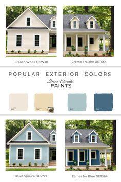 House Exterior Color Schemes, Paint Color Schemes, Blue Color Schemes, House Paint Exterior, Exterior Paint Colors, Dunn Edwards Paint, Outside Paint, Farmhouse Paint Colors, Color Swatches