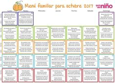 Menú octubre 2017 Healthy Menu, Healthy Kids, Kids Menu, Back To Basics, Baby Food Recipes, Meal Planning, Food Porn, Lunch Box, Health Fitness