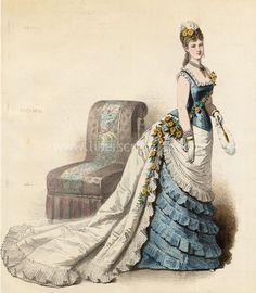 1880 fashion plate, Fashion Gustave Janet Mode Artistique Robe de Concert.