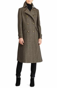 online shopping for Lauren Ralph Lauren Double Breasted Tweed Maxi Coat from top store. See new offer for Lauren Ralph Lauren Double Breasted Tweed Maxi Coat Couture Coats, Fit And Flare Coat, Daily Dress Me, Ladies Coat Design, Herringbone Coat, Long Wool Coat, Maxi Coat, Double Breasted Coat, Military Fashion