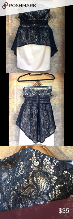 Guess Strapless Cocktail Dress The perfect party dress for the upcoming holidays. Very feminine and flirty.  The skirt is champagne color and lacy black fabric. Guess Dresses Strapless