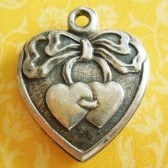 Vintage Two Hearts Sterling Silver Puffy Heart Charm ~ Engraved Al & Art from A Genuine Find