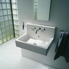 "Vero Wall Mounted Washbasin 23-5/8"" with BackSplash, with Overflow dra – Showroom Sinks"