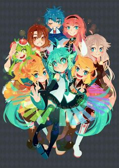 All the vocaloids together! Kaito,luka,miku,ren,Len and many more!