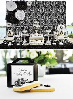 Black and white...Elegant damask party from hostess with the mostess