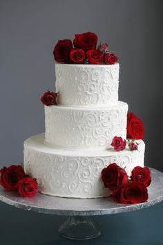 A Simple Cake: Wedding Cake with Fresh Flowers- From Trader Joe's