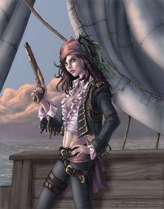 Pirate Anime Girl photo by demonic_katt Pirate Names, Pirate Art, Pirate Life, Sea Pirates, Pirates Cove, Pirates Of The Caribbean, Mode Steampunk, Steampunk Pirate, Pirate Queen