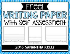 free writing papers with a simple self assessment - primary and wide ruled lines