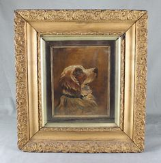 19TH CENTURY OIL PAINTING SPORTING DOG PORTRAIT BY H SIMON 1872