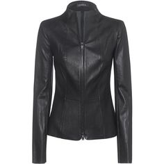 JITROIS Gattaca Black // Slim cut leather jacket (265865 RSD) ❤ liked on Polyvore featuring outerwear, jackets, stand up collar jacket, leather jackets, 100 leather jacket, leather zip jacket and embellished leather jacket