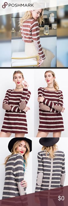 🔥Just arrived 🔥Cozy stripe plum sweater This soft stripe sweater features suede elbow patches and contrast strip down the back in a stunning plum color! A perfect statement sweater for this holiday season. Limited quantity! Don't miss adding this amazing cozy top to your wardrobe. Sweaters Crew & Scoop Necks