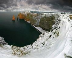 Etretat under the snow - France