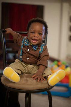 Baby Ankara bowtie and suspenders!