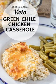 This easy chicken casserole with green chiles is perfect for those times you need an easy dinner recipe and are craving some healthy comfort food, too. This low carb chicken casserole will be a hit with the whole family! easy dinner recipes for family Low Carb Chicken Casserole, Easy Casserole Recipes, Keto Casserole, Casserole Ideas, Casserole Dishes, Green Chili Chicken Casserole, Chicken Chili, Low Carb Crockpot Chicken, Cowboy Casserole