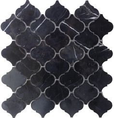 Arabesque Baroque Lantern Marble Mosaic Tile available in Honed and Polished Carrara, Nero Marquina and Crema Marfil available online from The Builder Depot. Black Marble Tile, Black Marble Bathroom, Marble Bathroom Accessories, Marble Mosaic, Mosaic Tiles, Marble Room, Marble House, Honed Marble, Black Tile Bathrooms