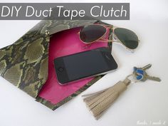 This DIY duct tape clutch is adorable!  You know what my tween wanted for her birthday? Duct tape.  Great project. From: Thanks, I Made It DIY Duct Tape Clutch