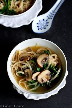 30-Minute Rice Noodle Soup with Mushrooms and Kale Recipe {Vegetarian}...Healthy and easy for busy nights! | cookincanuck.com