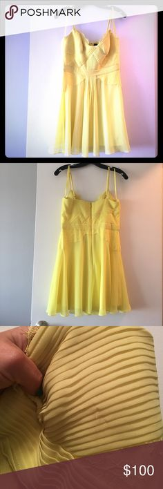 NWT BCBGMAXAZRIA stunning yellow dress BCBGMAXAZRIA size 8 Katalina dress in canary yellow. Brand new with tags but some snags & straps have a little dirt on them...not really noticeable but dress is not perfect even though it has never been worn. Straps are adjustable, zipped back and beautiful lace detail. Bundle and save in my closet! Sorry no trades but make me a reasonable offer! BCBGMaxAzria Dresses