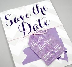 Chevron Wedding Invitations Destination Purple Gray Grey