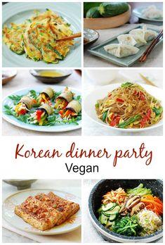 Menus for Korean Dinner Parties - Korean Bapsang Vegan Dinner Party, Dinner Party Recipes, Vegan Dinner Recipes, Vegan Dinners, Wine Recipes, Asian Recipes, Dinner Parties, Vegetarian Recipes, Cooking Recipes