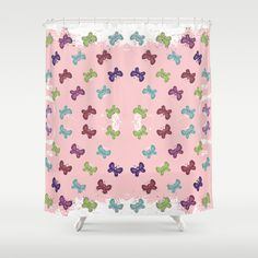 Fair Isle Pink Shower CurtainFun & Fresh Fair Isle sweater design filled with colorful butterflies like a butterfly garden - comes in pink blue and chalkboard.  See all products with this design in our shops www.cafepress.com/drapestudio adn www.zazzle.com/drapestudio adn www.society6.com/drapestudio and www.etsy.com/shop/drapestudio AND for Fabric by the Yard www.spoonflower.com/profiles/drapestudio OR visit our main site www.drapestudio.com