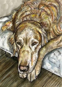 What a day  Golden Retriever Dog Art Print by AlmostAnAngel66, £15.00