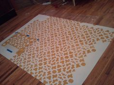 DIY Painted Rug Using A Plain IKEA Rug And A Stencil. (By Casadetraciemae.