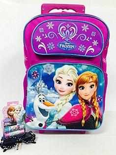 Disney Frozen Elsa and Anna 18 Large Rolling Backpack and One Bonus Gift Set ** Visit the image link more details.