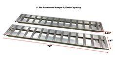 "72"" Aluminum Trailer Ramps Trailer car ramps 1- Set, two ramps = 6000lb Capacity 14"" wide"