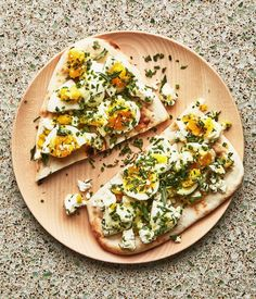 Jammy Eggs and Feta Flatbreads with Herbs Recipe | Bon Appetit