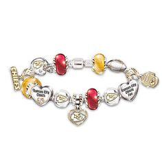 Kansas City Chiefs Charm Bracelet With Swarovski Crystals